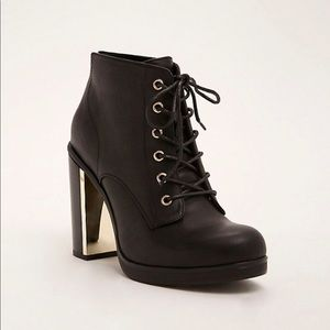 Metal Heel Lace Up Booties- wide width